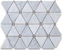 Carrara Bianco Triangle Mosaic Polished Gray Dots Floor Wall Tile, Carrara White New Design Mosaic, White Marble, Chinese White
