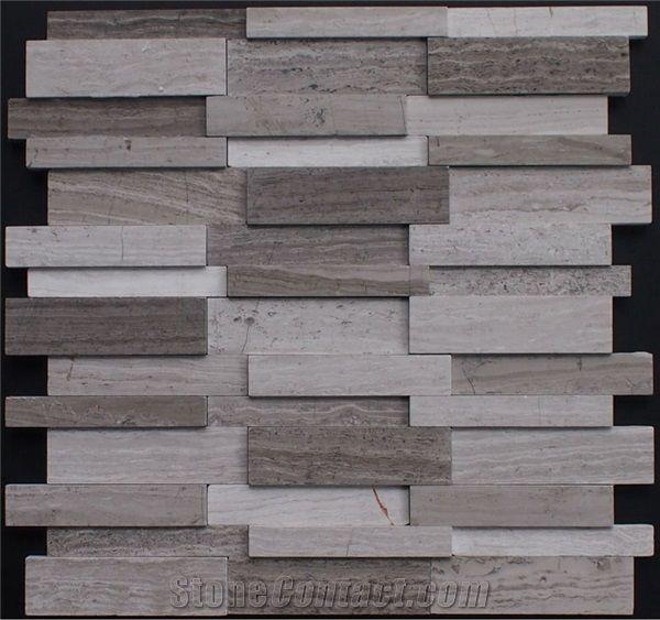 Chinese Wooden Grain Marble Mosaic 3d Wall Backsplash