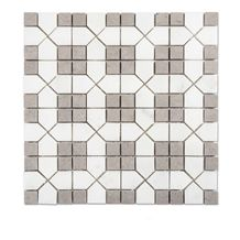 Cinderella Gray Marble Mixed White Marble Square Mosaic Tiles for Backsplash and Floor, Grey Girl with Thassos White Marble Mosaic, Sevic White and Grey Marble Mosaic