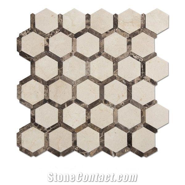 Cream Marfil Hexagon Kitchen Backsplash Mosaic Tiles Beige Marble Hexagon Mosaic Tile Marron Dark Mosaic Tile Dark Emperador Marble Mosaic Tile From China Stonecontact Com