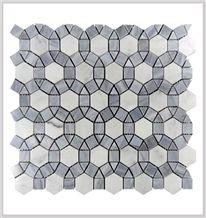 Italy Carrara White and Grey Marble Polished Football Pattern Shape Mosaic Tile ,Bardiglio Grey and Carrara White Mosaic, Italy Grey and Carrara Mosaic Pattern