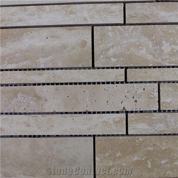 Travertine Random Strip Marble Mosaic Tile Light
