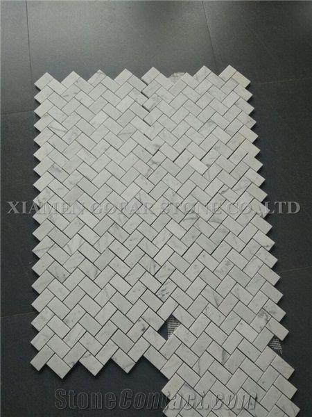 A Bianco Carrara White Marble Polished Basketweave Mosaic For Bathroom Wall Floor Covering Kitchen Backsplash Interior Herringbone Mosaic Pattern Tile From China Stonecontact Com