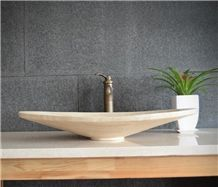 Beige Travertine Oval Basin Natural Stone Kitchen Sinks Bathroom Wash Bowls China Hand Made Washing Counter Top And Vanity