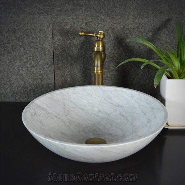 Bianco Carrara White Marble Round Sink Natural Stone Basin