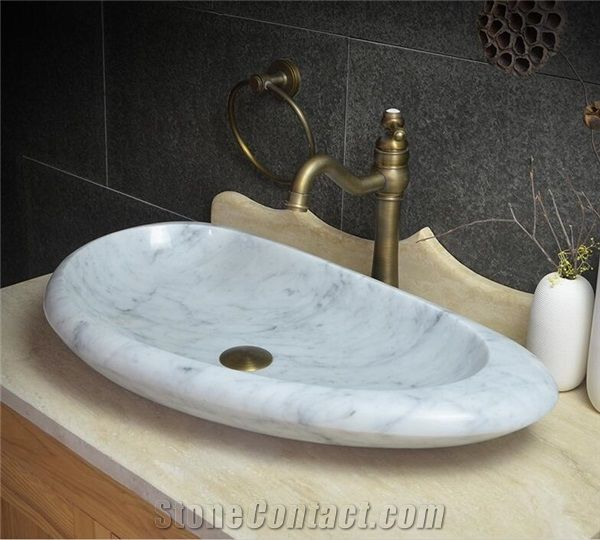 Bathroom Sink Bowls >> Bianco Carrara White Marble Vessel and Oval Basin, Handmade Sink,Natural Stone Basin, Kitchen ...