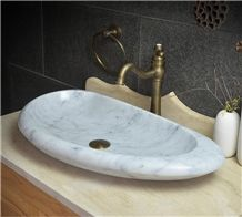 Bianco Carrara White Marble Vessel and Oval Basin, Handmade Sink,Natural Stone Basin, Kitchen Sinks, Bathroom Sinks, Wash Bowls,China Hand Made Bathroom Washing Basin,Counter Top and Vanity Top Sink