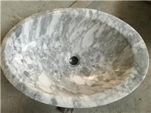 Carrara White Marble Round Basin,Natural Stone Basin, Kitchen Sinks, Bathroom Sinks, Wash Bowls,China Hand Made Bathroom Washing Basin,Counter Top and Vanity Top Sink, Own Factory with Ce