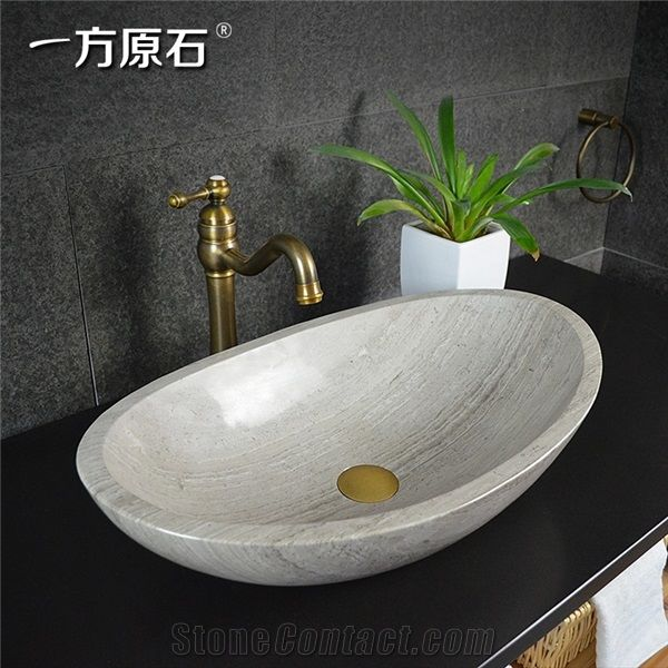China Wooden White Marble Oval Basin Natural Stone Basin
