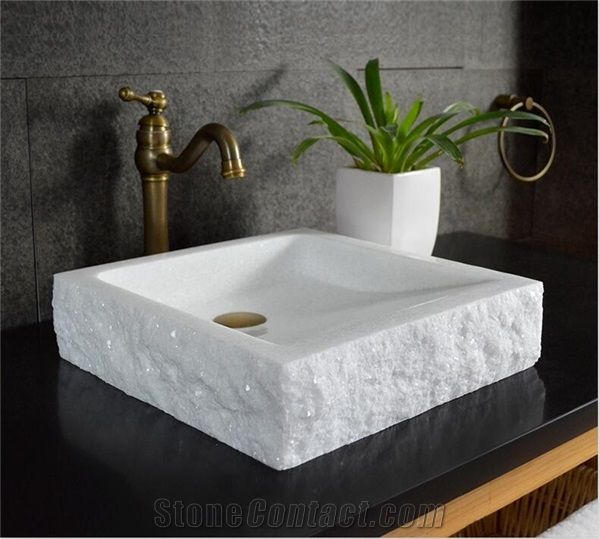 Crystal White Jade Marble Square Basin