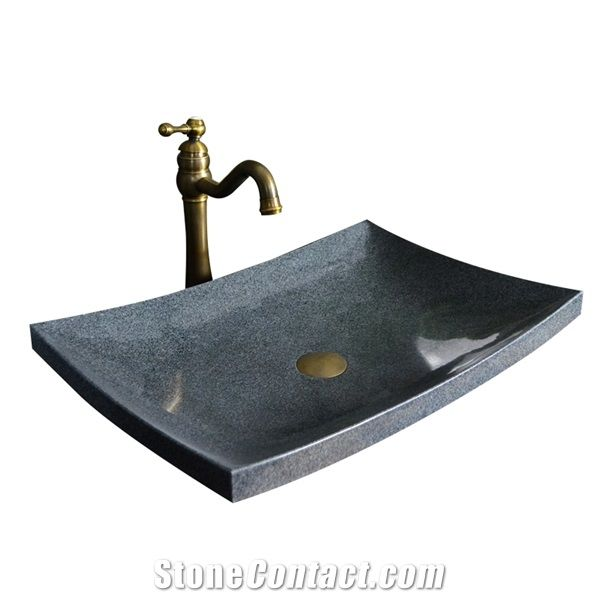 G654 Black And Middle Grey Granite Vessel Sink Atural Stone