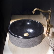 G684 Black Basalt Round Sink,Natural Stone Basin, Kitchen Sinks, Bathroom Sinks, Wash Bowls,China Hand Made Bathroom Washing Basin,Counter Top and Vanity Top Sink, Own Factory with Ce