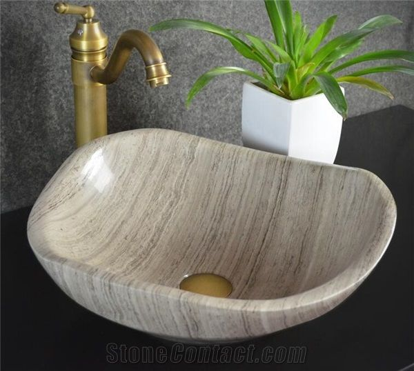 Grey Wood Marble Stone Sink Natural Stone Basin Kitchen Sinks Bathroom Sinks Wash Bowls China Hand Made Bathroom Washing Basin Counter Top And Vanity Top Sink Own Factory With Ce From China Stonecontact Com