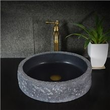 Mogolian Balck Basalt Granite Round Sink,Natural Stone Basin, Kitchen Sinks, Bathroom Sinks, Wash Bowls,China Hand Made Bathroom Washing Basin,Counter Top and Vanity Top Sink, Own Factory with Ce