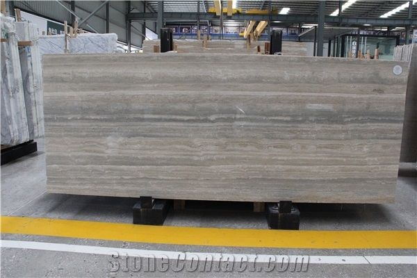 Silver Travertine Slab Tile And