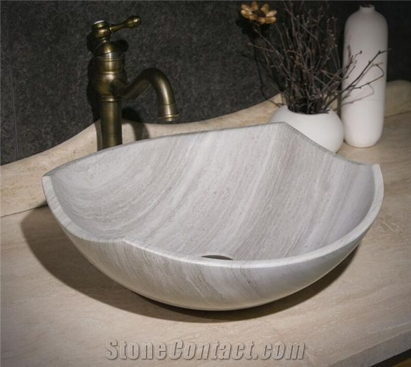Wooden White Marble Round Basin Natural Stone Basin