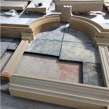 China Beige Sandstone Window Sills Surround Frame Door Surround Frame Arch Hand Made Sculputure