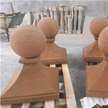 Yellow Wood Round Ball Pier Caps & Quoins for Column