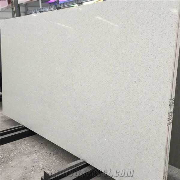 Artificial White Sparkle Quartz Slab And White Sparkle