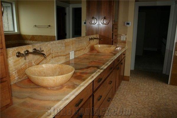 Honey Onyx Bathroom Countertops, Vessel Wash Basin