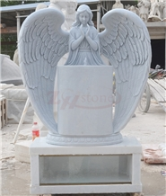 Hunan White Marble Single Angel Design Tombstone