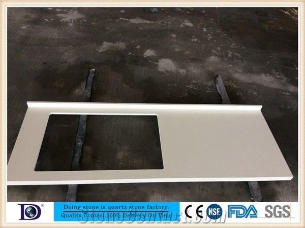 Pure White Quartz Kitchen Countertop Factory2cm White Backsplash