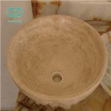 Beige Travertine Wash Bowls, Beige Sinks Made by Natural Stone, Scabos Travertine Basins