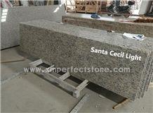 2cm Kitchen Prefeb Countertops / Santa Cecilia Light Granite Countertops / Giallo Ornamental Granite Countertop / South Africa Gold Countertop / Tan Brown Countertops / Ubatuba Granite Countertops
