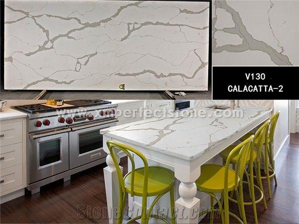Calacatta White Quartz Stone Slab In China 2cm Calacatta
