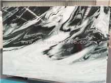 Cheapest Panda White Marble Tile&Slab&Cut to Size/White Marble with Black Waves Floor Tile/White&Black Veins Marble Wall Covering/Book Matched Marble Big Slab Like Painting