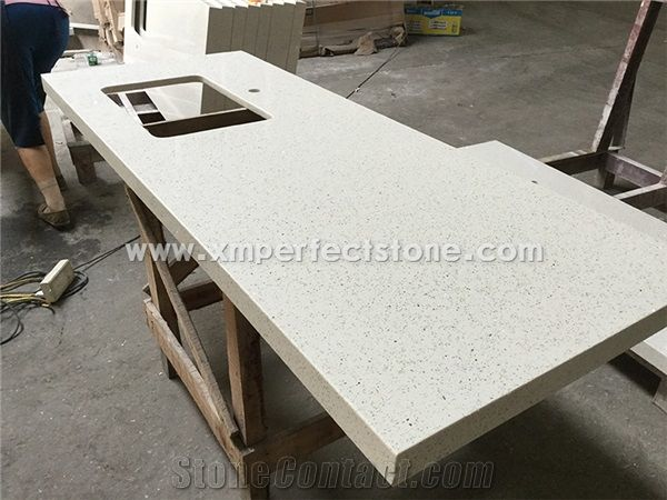 Crystal White Quartz Stone Countertop Kitchen Counter Top