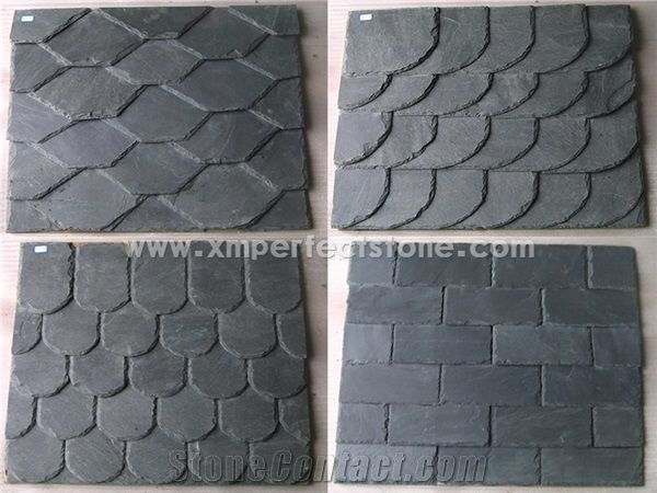 Fish Scale Shape Roof Tiles Dark Grey Roofing Slate Slate Roof Tiles From China Stonecontact Com