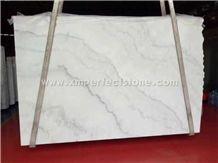 Polished Guangxi White Marble Big Slabs/China Carrara White Marble Slab/White Marble with Grey Veins