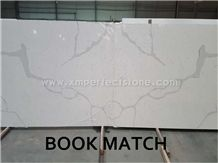 Quartz Stone Slab Calacatta Gold for Kitchen Bench Top Countertop with Book-Match