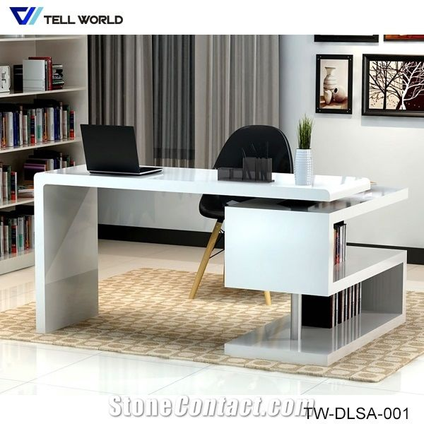 Acrylic Solid Surface White L Shaped Manager Office Desk Study Room