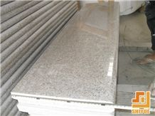 China Natural Stone Shangdong G681 Granite/Shrimp Red/Xia Red/Sunset Red/Wild Rose/Rosa Pesco Steps with 4mm Flamed Anti-Slip Strip,Stair Riser/Staircase/Stair Treads,Own Quarry