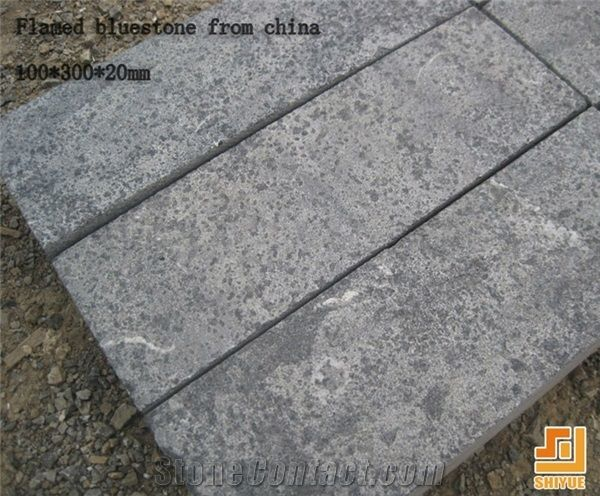 China Own Factory Shandong Blue Stone Flamed Finish Floor Tile,China