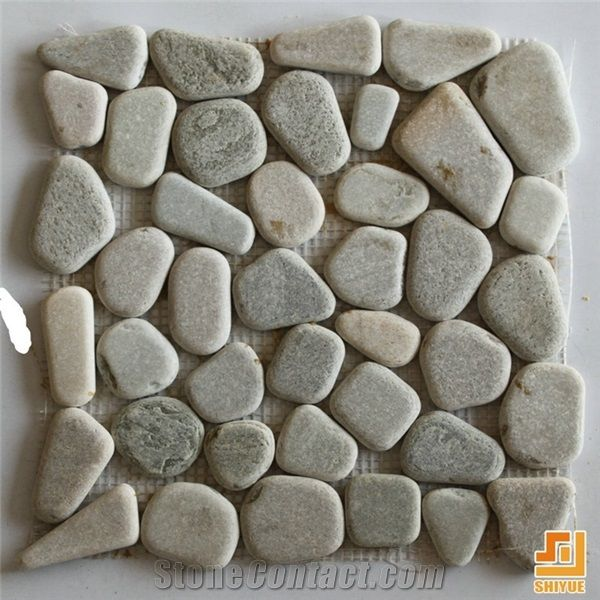 Mosaic Pattern Decorative Floor TileIndoor Stone TileMixed Color Sliced Pebble Tile Natural River For Wall