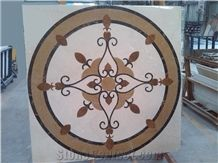 Artistic Inset Marble Waterjet Medallions,Emperador Light,Rosa Marble Tiles,Golden Rose,Waterjet Mosaic Medallions, Marble Inlay Pattern,Interior Stone Waterjet Floor Medallion Floor Tiles