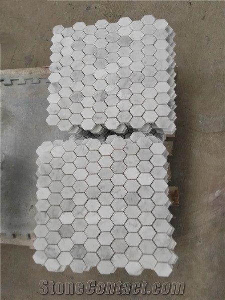 Hexagon White Marble Tiles For Floor White Hexagon Mosaic Pattern