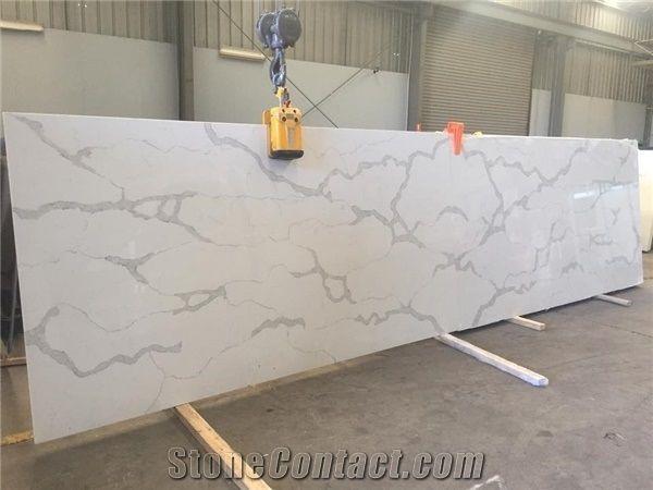 Calacatta White Marble Look Quartz Stone Solid Surfaces