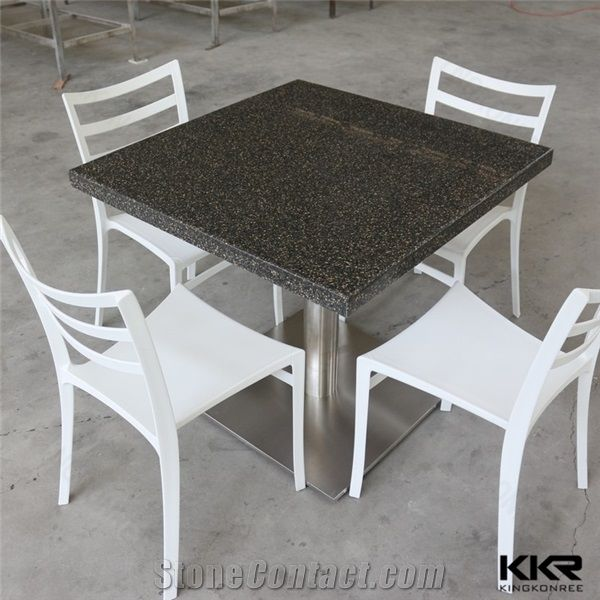 Custom Made Artificial Marble Solid Surface Small Dining Table Low Maintenance Acrylic Restaurant Tables