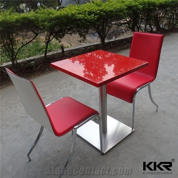 Newest Design Modern Furniture Acrylic Solid Surface Polished Restaurant  Shop Kfc Mcdonald Red Dining Room Dinner Tables