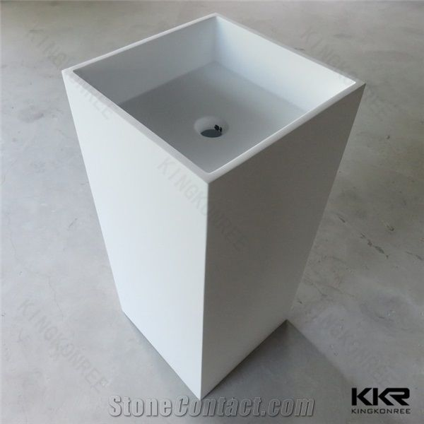 White Color Acrylic Solid Surface Pedestal Sinks For Garden/Cheap Price  Bathroom Basin/America Standard Pedestal Bathroom Sink