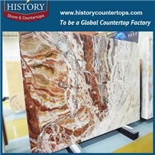 2017china Hebei Popular Wholesale Translucent Natural Stone Polished Onyx Tiles Cut-To-Size Slab for Hotel Lobby Decoration, Wall Covering, Floor Panel, Coffee Bar, Vanity Tops