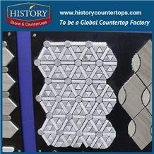 Bianco Carrara and Grey Hexagon Mosaic Tile for Kitchen, Bathroom, Aquarium, Lobby Decoration, Decorative Floor & Wall Mixed Color Marble Mosaic