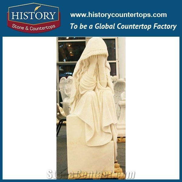 Cheapest Wholesale Decorative White Marble Little Girl Covering Faces Garden  Human Sculptures Modern Stone