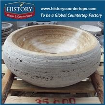 China Exclusive Chain Shop Excellent Quality Brand New Carved Kitchen Stone Nature Beige Travertine Round Sink for Wholesales