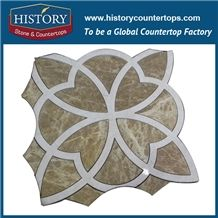 History Stone Assured Quality Professional Producer in Guangdong, Light Emperador Marble China Art Design Flower Pattern Mosaic Tile for Interior Decoration, Floor & Wall Mosaic