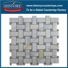 History Stone Best Xiamen Factory Fine Quality, Honed Calacatta Gold 1×2 Basket Weave Pattern with Grey Dots Mosaic Tiles with Rare Marble Material, Interior Decoration Flooring and Wall Mosaic